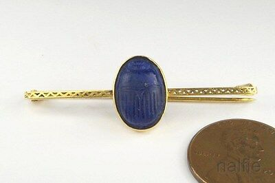 ANTIQUE ENGLISH 9K GOLD MOLDED BLUE GLASS SCARAB BROOCH c1920's