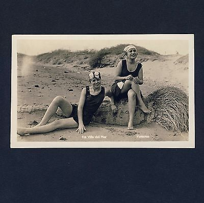 Mexico VILLA DEL MAR VERACRUZ Cute Beach Girls * Vintage 1920s Photo PC