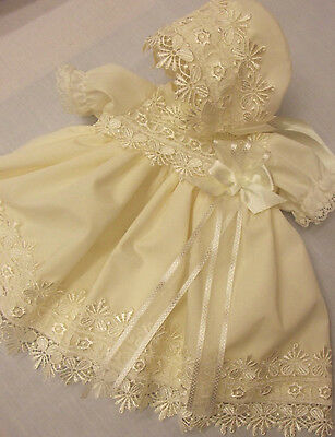Dream Baby Cream Detailed Guipure Dress & Bonnet Nb 0-3 3-6 Months Or Reborn