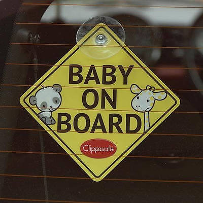 Clippasafe Baby on Board Car Window Sign Reversible Suction Cup Child on Board