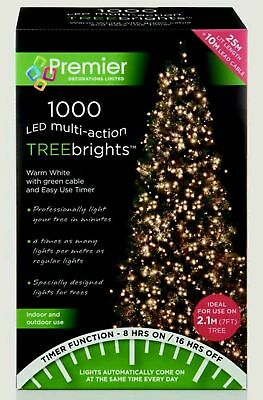 Premier 1000 Treebrights WARM WHITE LED Christmas Tree Lights Multi Action 2.1m