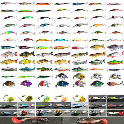 Mixed Minnow Saltwater Fishing Lures Bass Soft Bait Crankbait Float Rattles Hook
