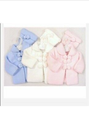 Pom-pom knitted baby coats for boys and girls