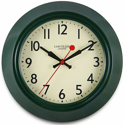 25cm 1950s Retro Inspired Green Classical Metal Wall Clock