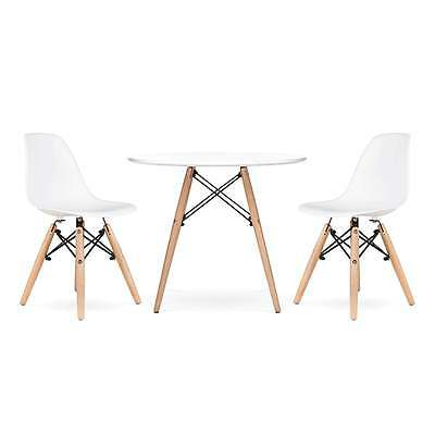 DSW Eames Kids White 60CM Round Table & Chairs Set Modern Children's Furniture