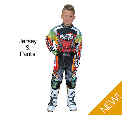 Wulfsport Attack Cub Kids Youth MX Motocross Off Road Pant + Jersey Set - Multi