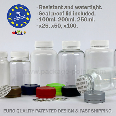 Pill Bottle x25 x50 x100 PET Plastic Capsules White Clear 100ml 200ml 250ml EU