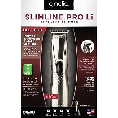 Andis Slimline Pro Li (Lithium) (D8) Cordless Rechargeable Trimmer 110-240V