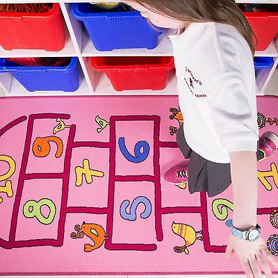 Kids Baby Pink Numbers Hopscotch Girls Boy Children Bedroom Play Game Rug Mat