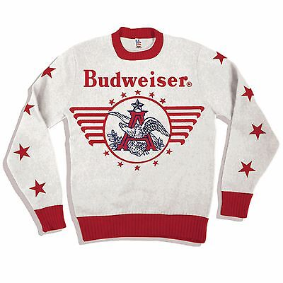 NEW Sealed AUTHENTIC Budweiser Knitted Vintage White Sweater L BUD Busch Beer AB