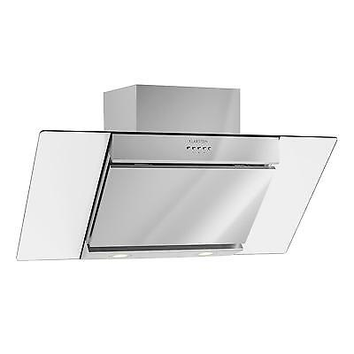 90Cm Cooker Hood Kitchen Angle Steel Glass Vent Exhaust Wall *free P&p Uk*