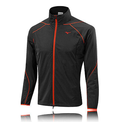 Mizuno Breath Thermo Wind Mens Black Red Water Resistant Running Jacket Top