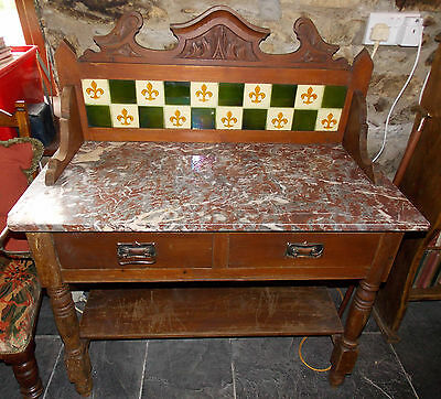 Antique Victorian washstand with carving, original tiles & marble top bathroom