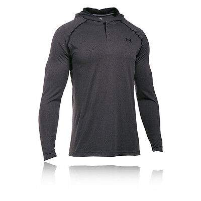 Under Armour Tech Pop Over Mens Grey Running Gym Long Sleeve Hooded Top