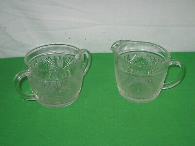 Vintage Creamer and Sugar Bowl Etched Clear Glass Starburst Leaf Motif