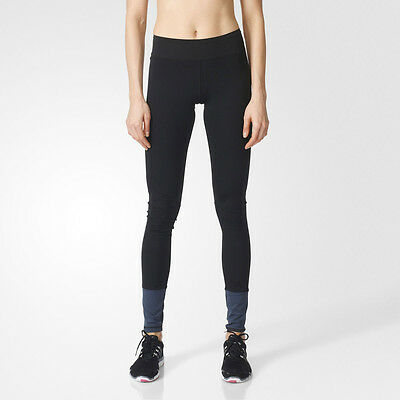 Adidas Super Womens Blue Black Running Gym Long Tights Bottoms Pants