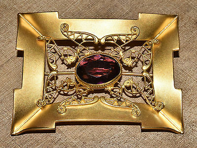 Large Antique Victorian Amethyst Glass Rhinestone Brooch Gold Plated Sash Pin