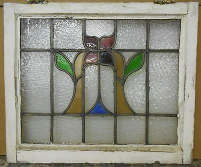 """MID SIZED OLD ENGLISH LEADED STAINED GLASS WINDOW Abstract Floral 24.5"""" x 20.75"""""""