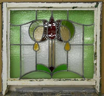 "EDWARDIAN ENGLISH LEADED STAINED GLASS WINDOW Abstract Floral 25.5"" x 21"""