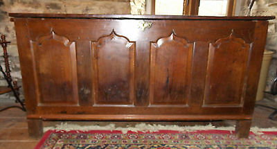 Antique Georgian ogee 4 panel oak large COFFER blanket box mule chest