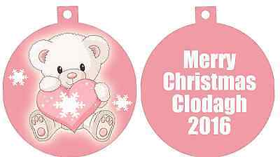 Personalized Custom Any Name Teddy bear Baby Gift idea Pink Love Heart Ornament