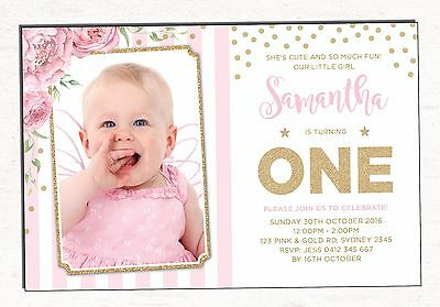 Pink and Gold Confetti Invitation First 1st Birthday Party Invite Floral Flowers