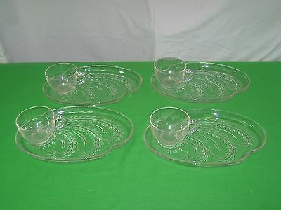 4 Vtg Federal Clear Glass Homestead Hospitality Wheat Snack Luncheon Plates Cups