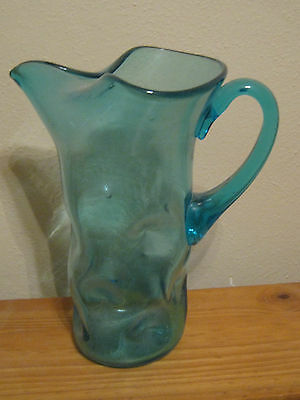 Pinched Dimpled Antique  Blue Pitcher possibly Blenko