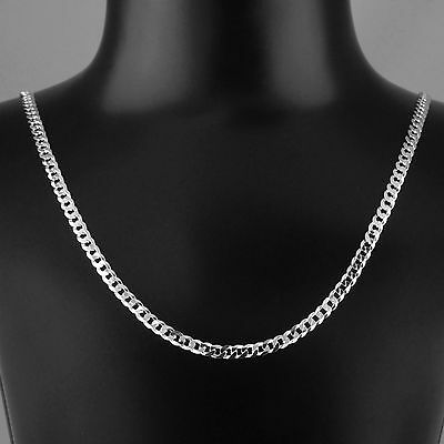 Unisex Solid 925 Sterling Silver Gauge 120-5mm Width Curb Chain Italy Made