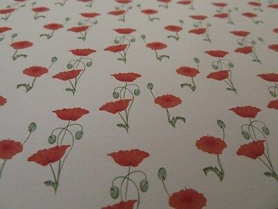 Dolls House Emporium Miniature 1:12 Scale Red Poppy Wallpaper