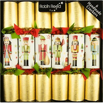 Robin Reed Christmas Holiday 6 Piece Traditional Nutcracker Party Crackers 680