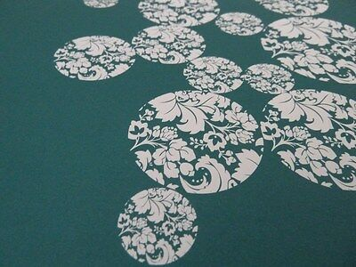 Dolls House Emporium Miniature 1:12 Scale Teal Floral Circles Wallpaper