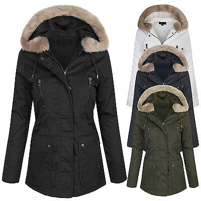 Womens Zip Up Winter Utility Jacket Coats Parka with Fur Lining and Hoodie SML