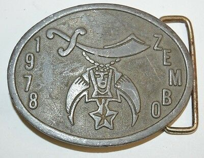 Vintage 1978 Freemason Shriners ZEMBO Belt Buckle A Maxwell Paget ACE Potente