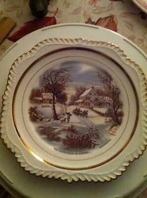 """Vintage Currier And Ives 8"""" Plate """"The Homestead In Winter"""""""