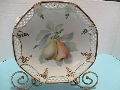 "Vintage Bavarian China Fruit Plate, ""germany, U.s. Zone 3"", 8.25 Diameter, Nice"