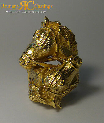 Men's Double Horses Head Cast ring in 9ct Solid Gold Fully Hallmarked 40grams