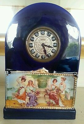 Old Clock Ceramic Decorative Mantle Timepiece Grecian Ladies Estyma