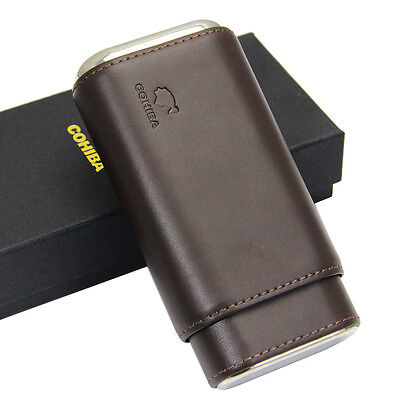 COHIBA Brown Leather Cedar Lined Cigar Travel Holder Case 3 Count