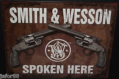 Smith And Wesson Spoken Here, Metal Sign. Desperate Ind. Adult. Unisex, Apo Ok