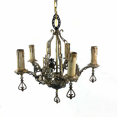 "Vintage 5 Light Bronze Chandelier with Medieval Motif - Crowns & Shields, 18""W"