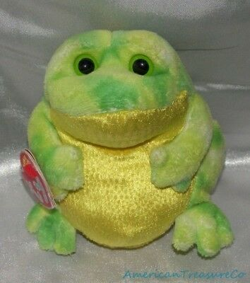 NEW 2007 Ty Beanie Babies 2.0 Plush Shimmery Lime Green Tie Dye Jumps The Frog