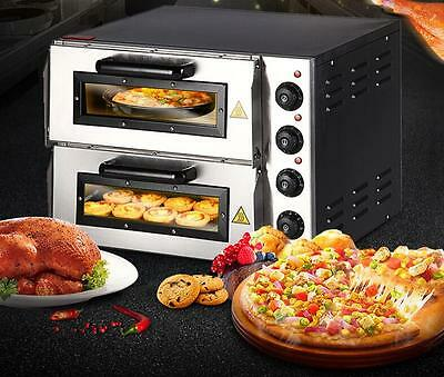 "New 220V 16"" Double Electric Pizza Oven Commercial Ceramic Stone a"