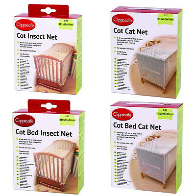 Clippasafe Cot Cotbed Net Insect Cat Protection Netting Safety White