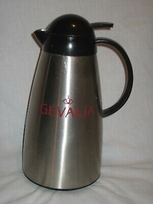 GEVALIA Stainless Steel Silver Thermos Vacuum Pitcher with Lever Style Lid