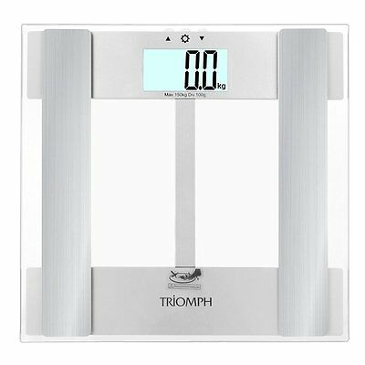 Triomph Digital Body Fat Weight Scale w/ Smart Step-On (Transparent) ,Silver CXX