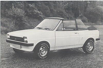 Ford Fiesta Crayford Convertible Original black and white Press Photograph