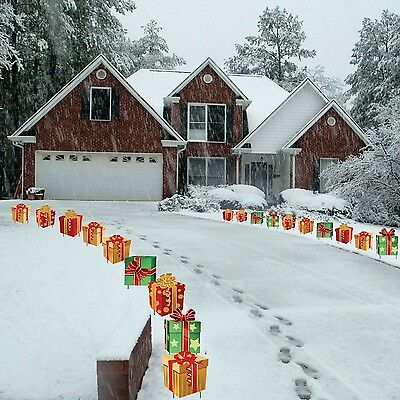 Christmas Presents Pathway Markers-Set of 18 Flat Corrugated(786471621301)HCDNEW