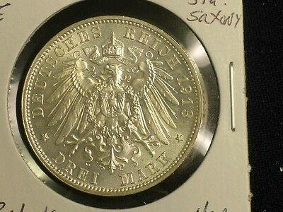 1913-E German States 3 Mark  -- Uncirculated - Nice Coin!     C1015-1