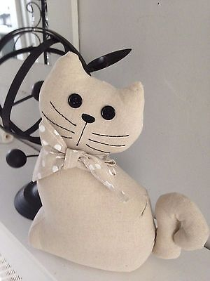 Adorable Sitting Cat Door Stop Linen with Polka Dot Bow & Button Eyes